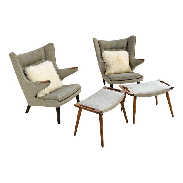 Important Pair of Hans Wegner for a.p. Stolen Papa Bear Chairs With Ottomans For Sale