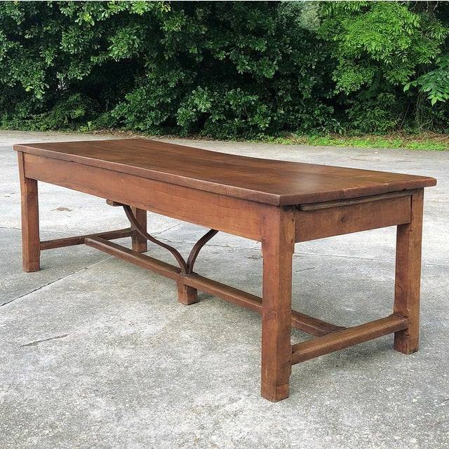 Brown 9th Century French Cherrywood Farm Table With Pair Benches For Sale - Image 8 of 13
