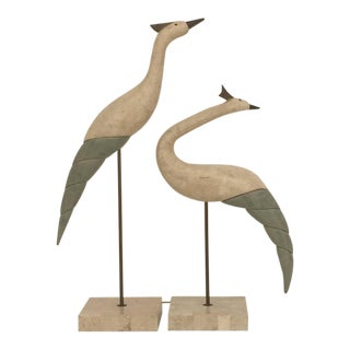 Pair of Tessellated Stone and Brass Bird Sculptures For Sale
