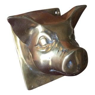 Brass Pig Coat Hanger