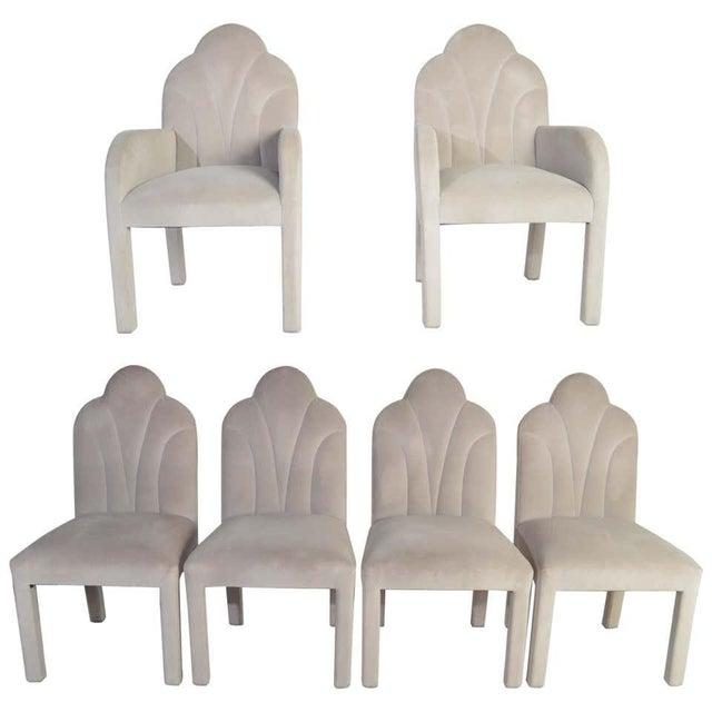 Art Deco Revival Hollywood Regency Dining Chairs in Soft Velvet For Sale - Image 11 of 11