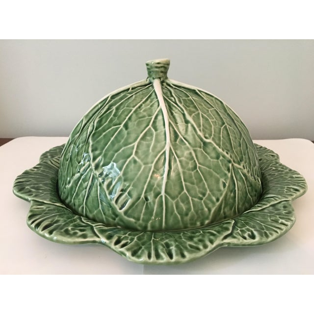 Cottage Large - Majolica Cabbage Leaf Food Dome & Platter-Made in Portugal For Sale - Image 3 of 13