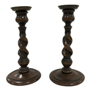 English Barley Twist Candlesticks - a Pair For Sale