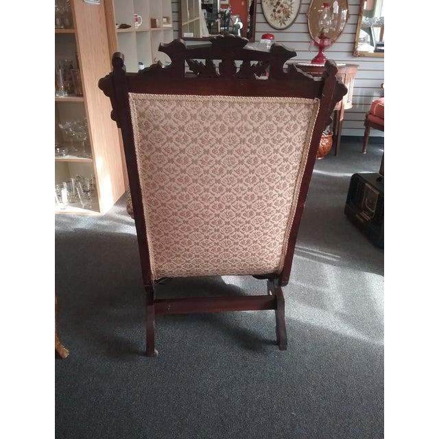 Eastlake Upholstered Victorian Wood Platform Rocking Chair For Sale - Image 4 of 13