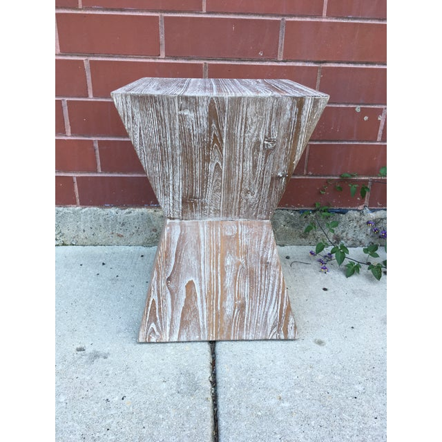 1970s Mid-Century Modern Cerused Oak Side Table For Sale In Chicago - Image 6 of 6