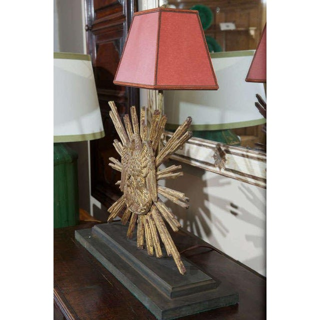Carved Giltwood Sunburst mounted as a Lamp For Sale - Image 4 of 8