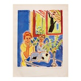 """Image of 1948 Matisse """"Two Girls, Red Window in Blue Interior"""", Original Period French Lithograph For Sale"""