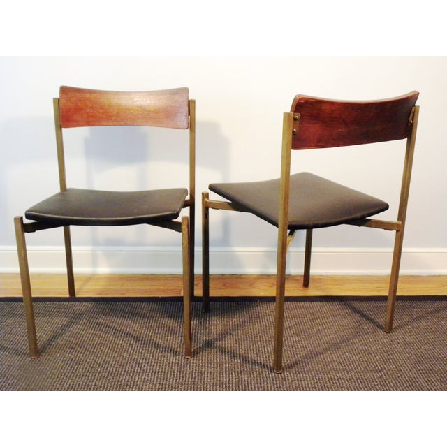 Mid-Century Floating Seat Metal Chairs - A Pair - Image 4 of 8