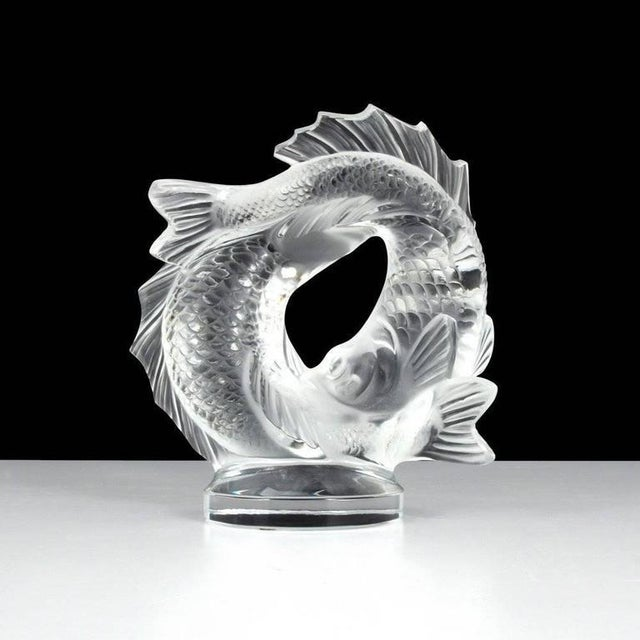 "Lalique Lalique Clear Crystal Double Fish ""Deux Poissons"" Sculpture For Sale - Image 4 of 7"