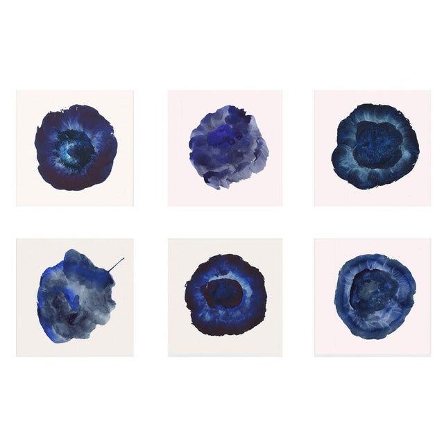 White Framed Blue Abstract Prints - Set of 6 For Sale - Image 8 of 9
