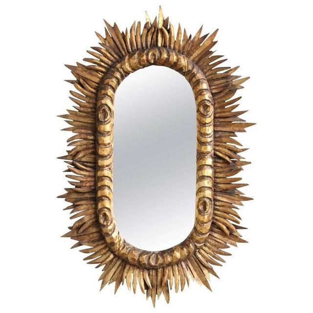 Spanish 1950s Giltwood Oval Sunburst Mirror For Sale - Image 10 of 10