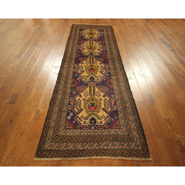"Navy Blue Tribal Afghan Balouch Rug - 3'1"" x 9'2"" - Image 2 of 8"