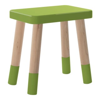 Tippy Toe Kids Chair in Maple and Green Finish For Sale