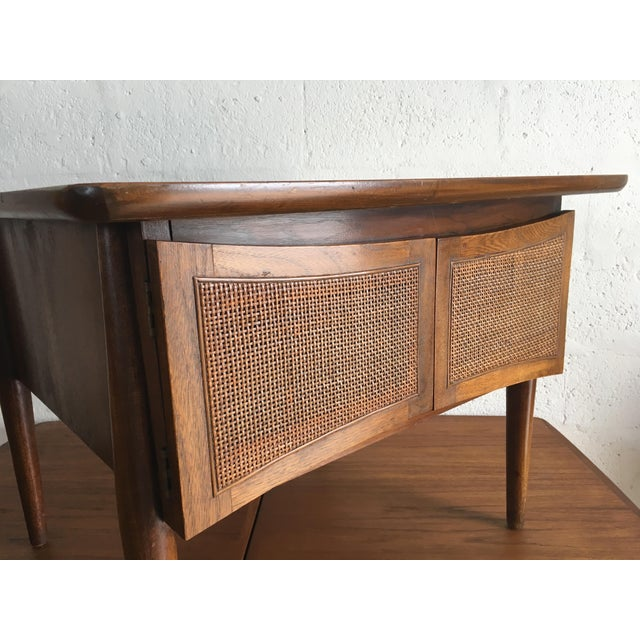 Mid-Century Modern Side Table With Caned Doors . For Sale - Image 10 of 11