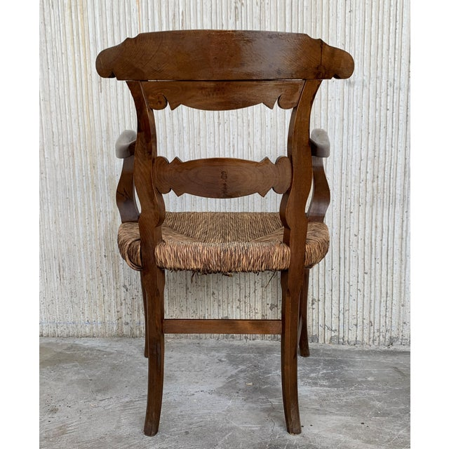 19th Century Set of Six Armchairs With Straw Seat. Dining Room Chairs For Sale In Miami - Image 6 of 13