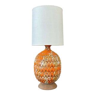Large Orange Fat Lava Glazed Ceramic Table Lamp, 1960s For Sale