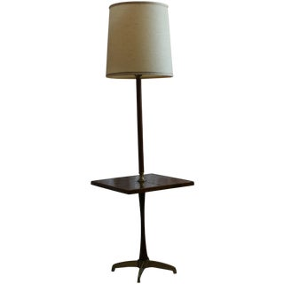 Mid-Century Briard Style Side Table Floor Lamp For Sale