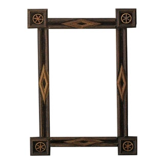 French Tramp Art Mirror with Diamond Patterns and Floral Motifs, circa 1900