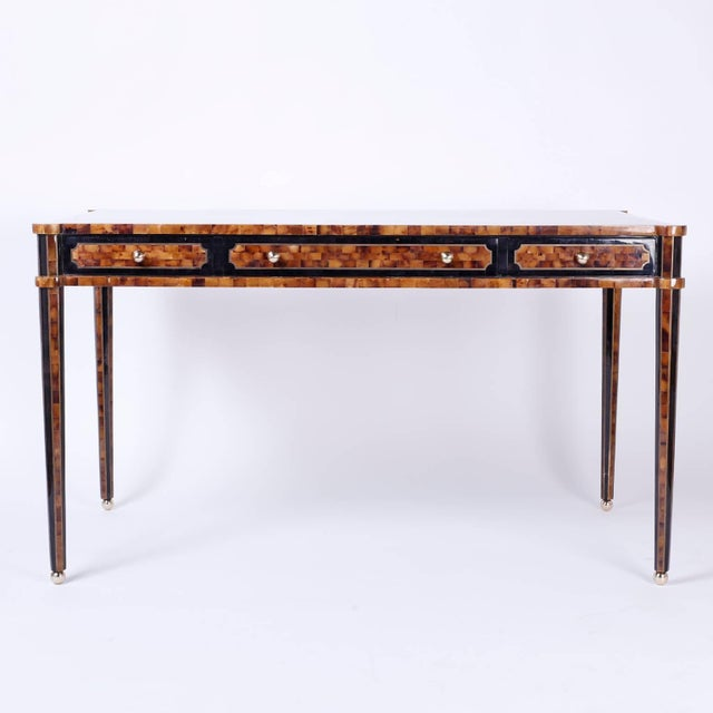 Mid-Century Modern Chic Midcentury Pen Shell Three-Drawer Desk or Writing Table For Sale - Image 3 of 10