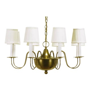 Fine Hand-Spun Brass Eight-Light Chandelier with Delicate Arms For Sale