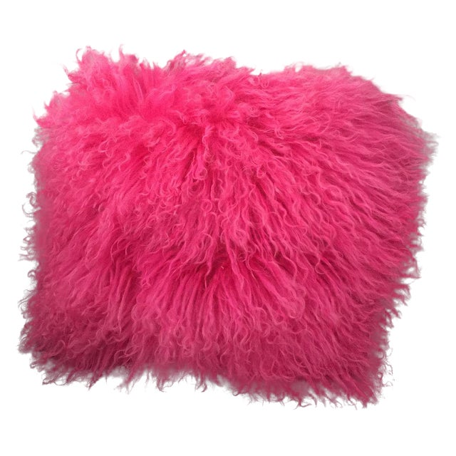 Pink Mongolian Lamb Fur Pillow - Image 1 of 6