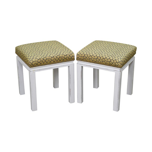 Mid Century Pair of Custom Painted Square Stools Benches For Sale - Image 11 of 11