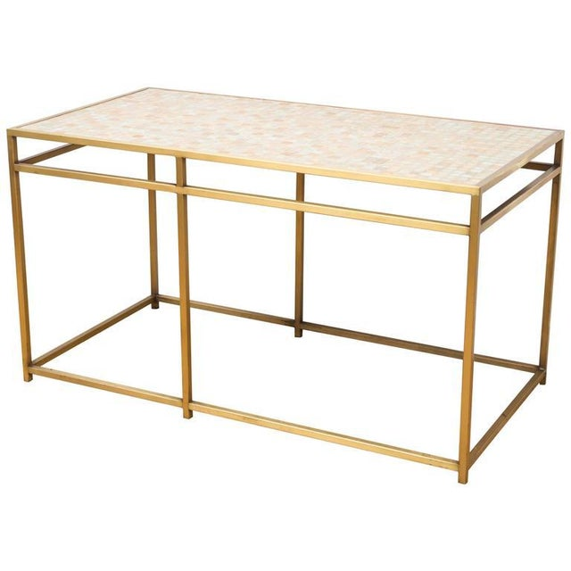 Gold Brass Tile-Top Console Table For Sale - Image 8 of 8