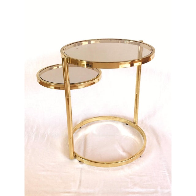 Hollywood Regency Brass and Smoked Glass Swivel Side Table by Dia, 1970's For Sale - Image 13 of 13