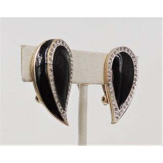 1980s Panetta Goldtone Black Enamel & Rhinestone Earrings Preview