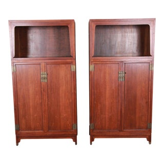 1960s Michael Taylor for Baker Far East Collection Walnut Bookcase-a Pair For Sale