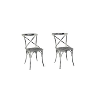 "Set of 2 Macy Iron Chair for Home Furniture, Mid Century Modern Style, 17.8"" H, White Distress Finish, Metallic Color For Sale"