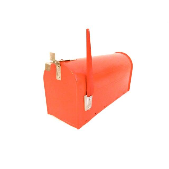 Industrial Vintage Industrial Fire Orange Metal Mailbox For Sale - Image 3 of 11