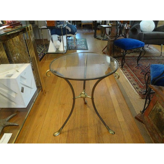 French Maison Baguès Style Brass Table or Guéridon With Glass Top For Sale - Image 9 of 11