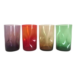 Vintage Mid-Century Modernist Italian Hand Blown Multicolor Dimple Glasses - Set of 4 For Sale