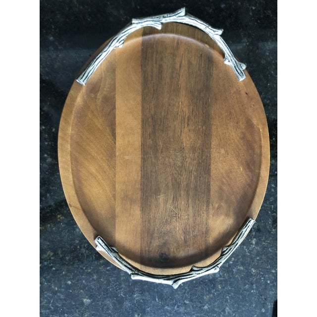 Cabin Faux Bois Pewter Cheese Board For Sale - Image 3 of 5