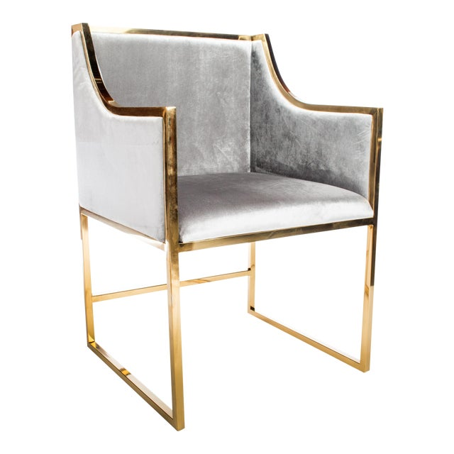 Erin Chrome Gold Dining Chair For Sale - Image 4 of 4