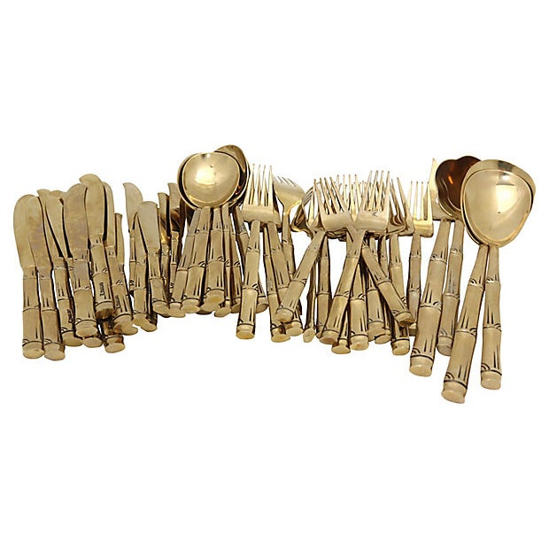 Mid-Century French Gold-Tone Flatware - Svc for 8 For Sale - Image 4 of 5