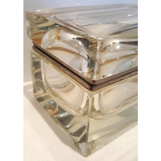 Mid 20th Century Vintage Heavy Rectangular Crystal Box For Sale - Image 5 of 6