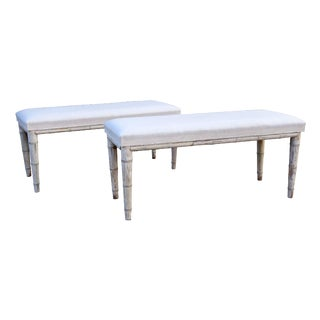 Late 19th Century Vintage Swedish Benches- A Pair For Sale
