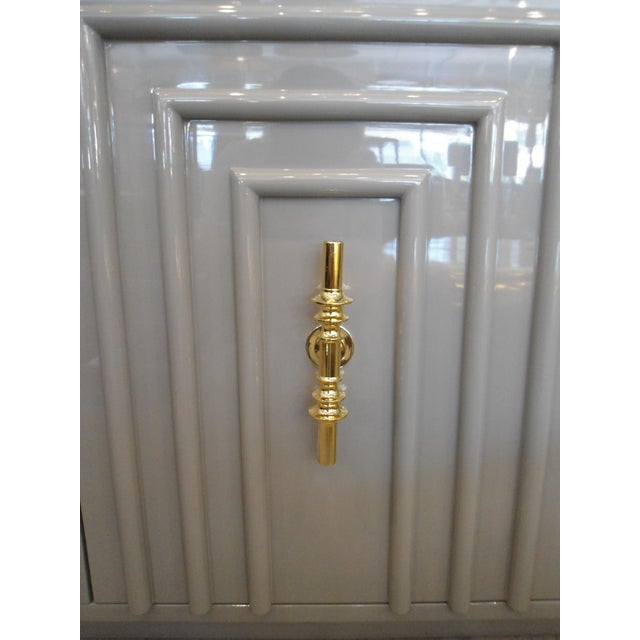 ModShop Art Deco Gray Lacquer W/ Gold Pulls Sideboard For Sale - Image 5 of 9
