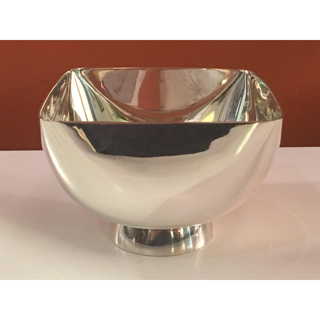Ward Bennett Silver-plate Small Bowl. Round Bowl that has had it's sides pushed flat to give it a dimensional Box Feel....
