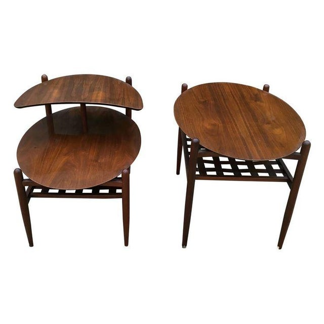 Lane Walnut Side Tables - Pair - Image 1 of 6