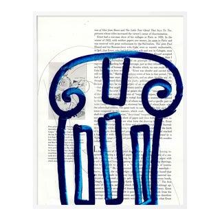 Blue Column by Virginia Chamlee in White Frame, Medium Art Print For Sale