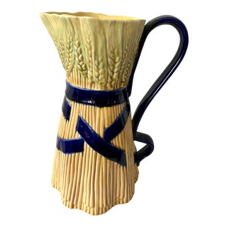 Majolica Sheaf of Wheat Pitcher For Sale