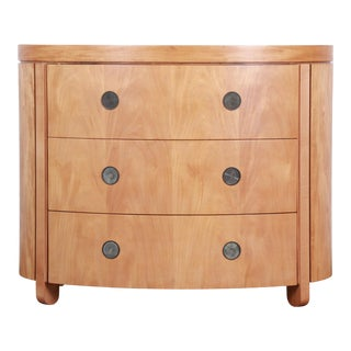 Charles Pfister for Baker Art Deco Primavera Three-Drawer Oval Commode Bachelor Chest For Sale