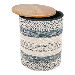 Anaya Handwoven Indigo Striped Storage Side Table For Sale