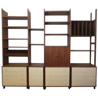 Hardwood House Wall or Room-Divider Shelving System For Sale