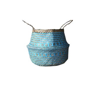Boho Chic Cris Cross Turquoise Seagrass Belly Basket - Large