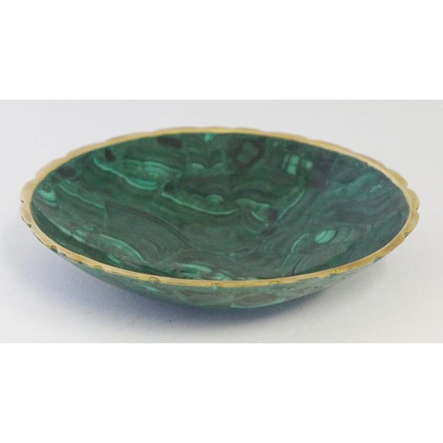 Late 20th Century Brass Trimmed Malachite Dish For Sale - Image 5 of 5