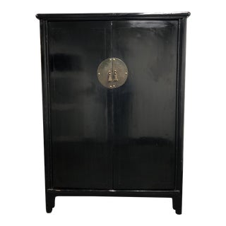 Vintage Chinese Black Lacquered Wedding Cabinet